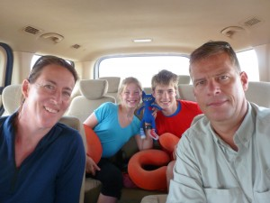 Family in car to Ica Peru